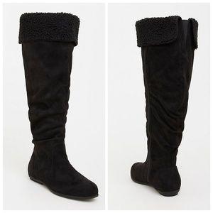 torrid Shoes - Torrid Black Faux Suede Shearling Knee High Boots